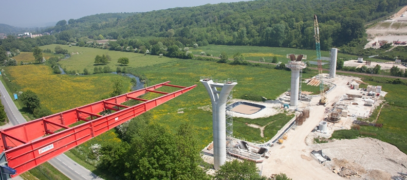 photo aerienne btp chantier pont