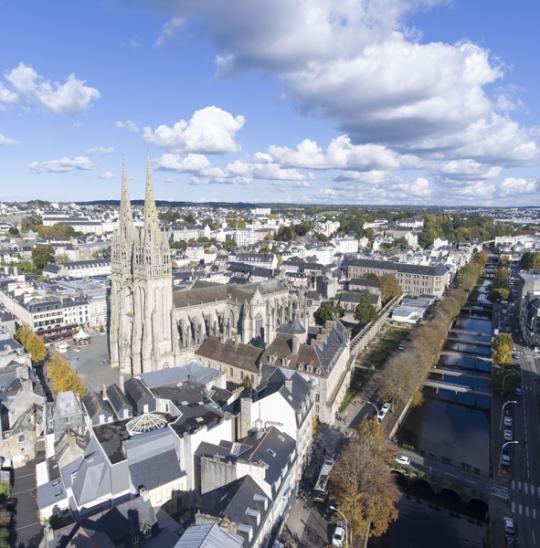 Photo aérienne cathédrale de Quimper