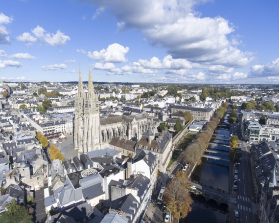 Photo aérienne cathédrale de Quimper