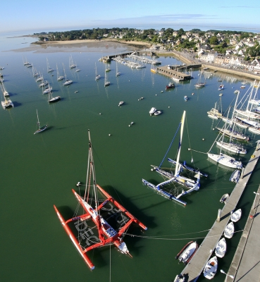 Photo aérienne port de la Trinité sur Mer dans le Morbihan