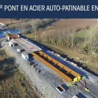 Vidéo de suivi chantier : lançage du pont métallique du Blavet (Morbihan)
